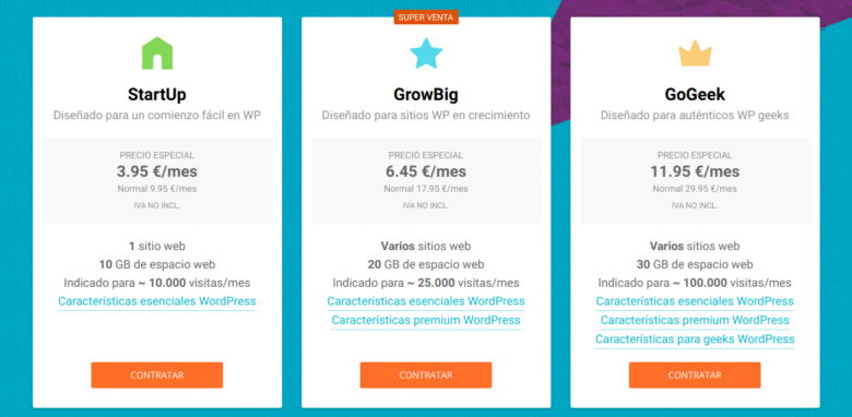 Planes hosting WordPress Siteground