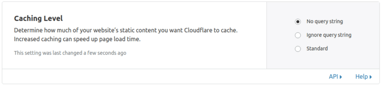 Caching level CloudFlare