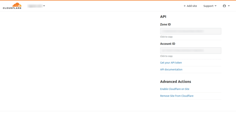 Zone ID y account ID de CloudFlare