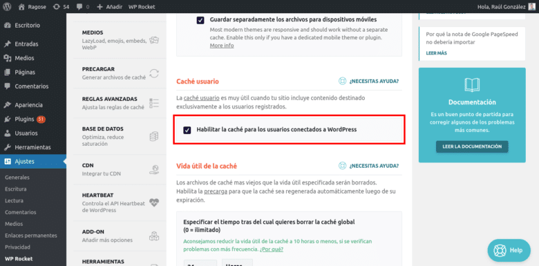 Caché para usuarios registrados WordPress